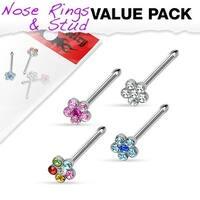 4 Pcs Value Pack of Assorted 316L Surgical Steel Flower Multi-Gem Paved Top Nose Stud
