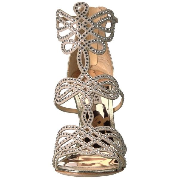 BADGLEY MISCHKA Womens Teri Leather Open Toe Bridal Ankle Strap Sandals