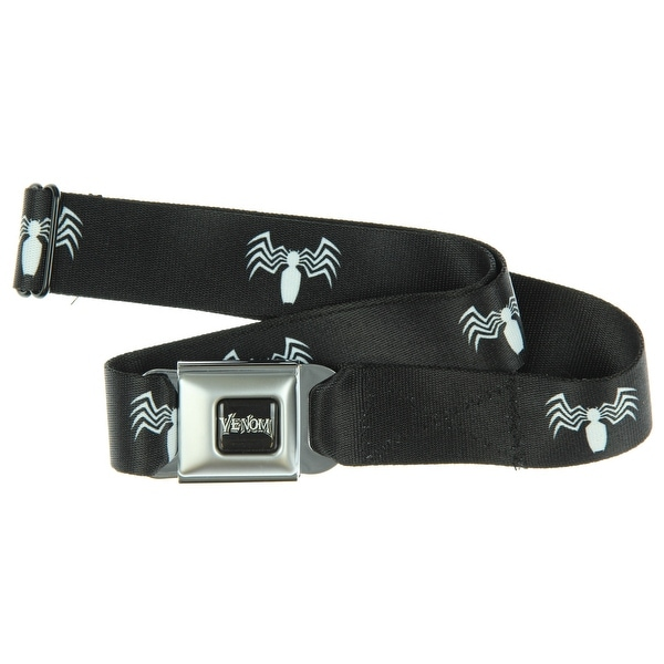 Marvel Venom Seatbelt Belt - Venom Spider Logo Black/White Webbing-Holds Pants Up