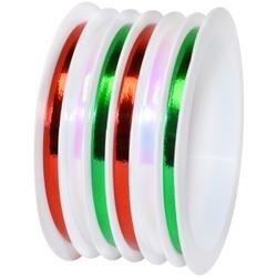 "Green; White & Red - Multi-Channel Iridescent Metallic Ribbon 1/8""X75'"