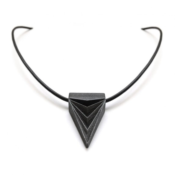 Loralyn Designs Mens Womens Black Steel Triangle Necklace as Seen on TV