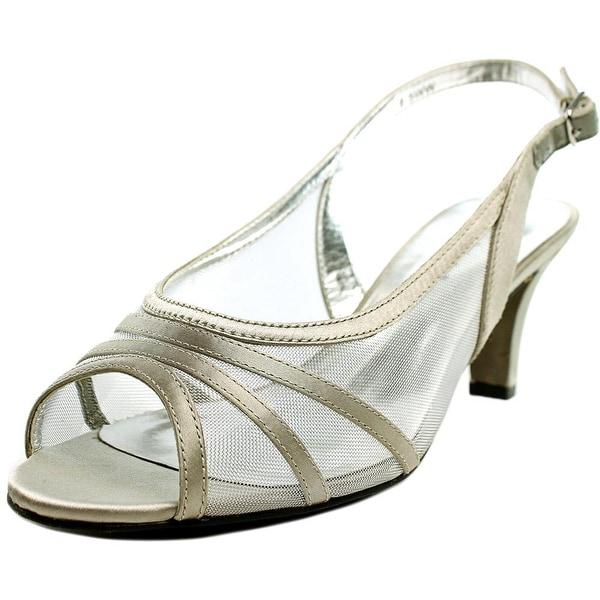 David Tate Pride Women N/S Open-Toe Canvas Silver Slingback Heel