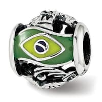 Sterling Silver Reflections Enameled Brazil Theme Bead (4.5mm Diameter Hole)