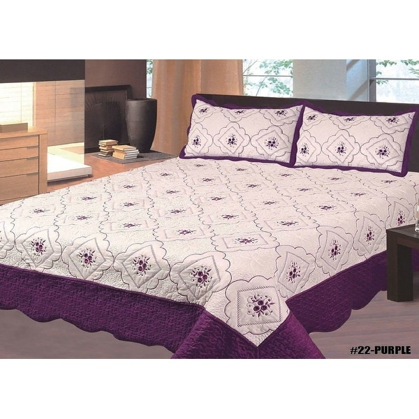 king size 3pc bedspread high quality bed cover full embroidery quilt cream dark purple new. Black Bedroom Furniture Sets. Home Design Ideas