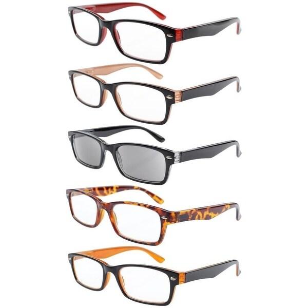 5-pack Spring Hinges Plastic Reading Glasses+3.5