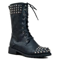 Harley 14 Womens Military Lace Up Studded Combat Boot