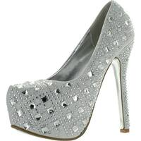 Bella Luna Miranda-01 Womens Rhinestone High Stiletto Heel Platform Dress Pump Shoes - Silver