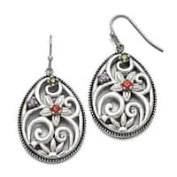 Chisel Stainless Steel Polished/Antiqued Multicolor CZ Earrings