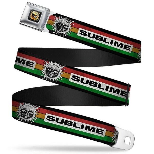 Sublime Sun Logo Full Color Sublime Sun Stripe Black Rasta White Webbing Seatbelt Belt