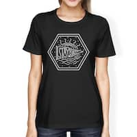 Stay Salty Womens Black Short Sleeve Tee Round Neck Graphic T-Shirt