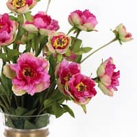 """G Home Collection Luxury Silk 3 Princess Peony Bloom Stem in Pink 26"""" Tall"""