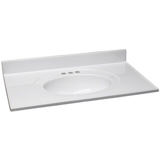 """Design House 550210 49"""" Marble Drop-In Vanity Top with Integrated Sink and 3 Fau - Solid White"""