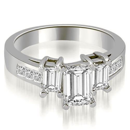 1.50 cttw. 14K White Gold Channel Princess and EmeraldDiamond Engagement Ring