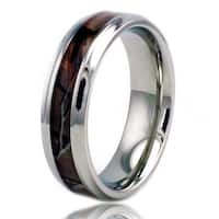 6.5mm Stainless Steel Camo Wood Design Inlay High Polish Ring w/ Step Down Edge