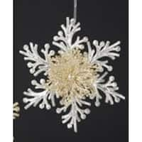 """6"""" Silver and Gold Glittered Branch Snowflake Christmas Ornament"""