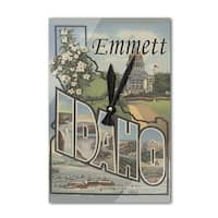Emmett, ID Large Letter Scenes - Vintage Halftone (Acrylic Wall Clock) - acrylic wall clock
