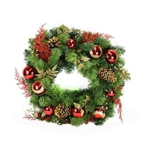 """24"""" Pre-Decorated Red and Gold Artificial Christmas Wreath - Unlit"""