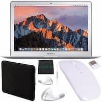 """Apple 13.3"""" MacBook Air 128GB SSD #MQD32LL/A + White Wired Earbuds Headphones + Padded Case + Optical Wireless Mouse Bundle"""