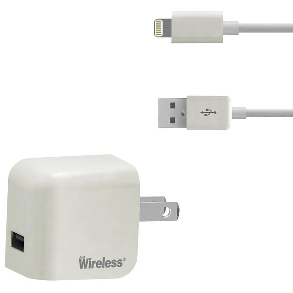 Just Wireless 705954044338 Lightning Wall Charger with USB Cord - White