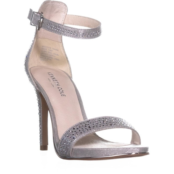 Kenneth Cole New York Brooke Shine Heeled Sandals, Silver - 7.5 us / 38 eu