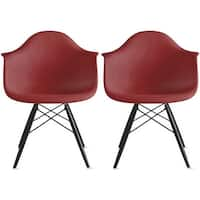 2xhome - Set of 2 -  Modern plastic Armchair With Arm Dining ChairColorsWith Dark Black Wood Legs