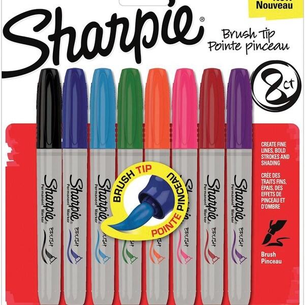 Sharpie Brush Tip Permanent Markers 8/Pkg-Assorted Colors