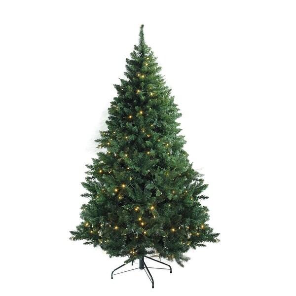 "7.5' x 55"" Pre-Lit Buffalo Fir Medium Artificial Christmas Tree - Warm White LED Lights"