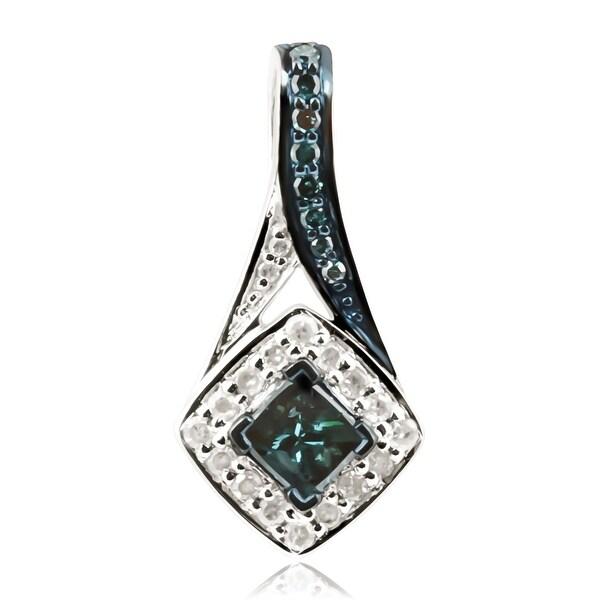 Attractive 0.44 Carat Princess & Round Cut Blue Diamond With Diamond Designer Pendant - White