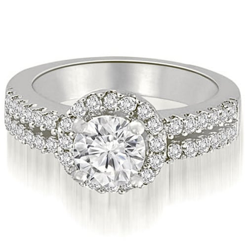 0.88 cttw. 14K White Gold Two Row Round Cut Halo Diamond Engagement Ring