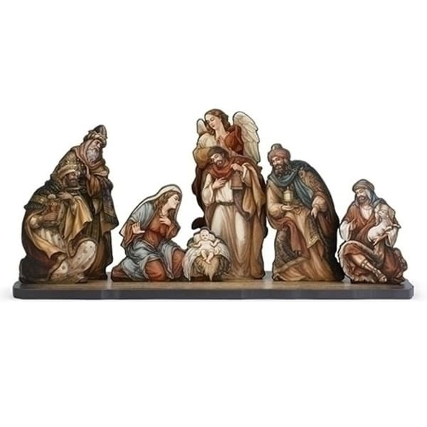 """24"""" 8-Piece Nativity Die Cut Figures with Base Christmas Decoration"""