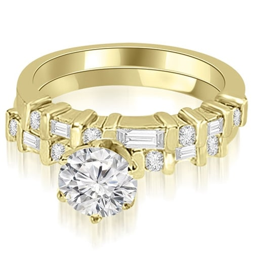 1.55 cttw. 14K Yellow Gold Round and Baguette Diamond Bridal Set