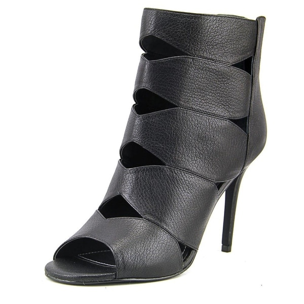 Charles By Charles David Reform Women Open Toe Leather Black Sandals