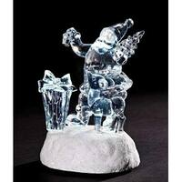 """5.25"""" Icy Crystal LED Lighted Santa Claus with Reindeer Christmas Figure"""