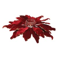 "11"" Holiday Moments Red Glittered Poinsettia Christmas Votive Candle Holder"