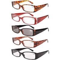 Women Spring Hinge Plastic Reading Glasses (5 Pack Mix) Includes Sunglass Readers+3.50