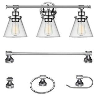 "Globe Electric 51234 Parker 3 Light 24-5/8"" Wide Bathroom Vanity Light - Towel Bar, Towel Ring, and Paper Holder Included"