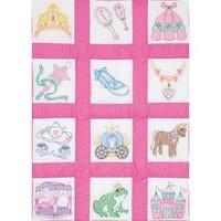 "Princess - Themed Stamped White Quilt Blocks 9""X9"" 12/Pkg"