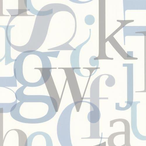 Brewster 347-20138 Angus Blue Vintage Letter Font Wallpaper
