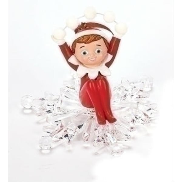 "4"" Elf on the Shelf Boy Snowflake Ride Christmas Ornament"