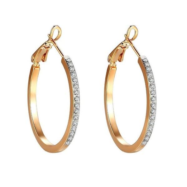 Womens Hoop Earrings Lab Diamonds 14k Gold Finish Huggies Cute Ladies