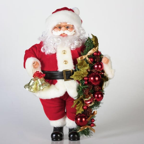 "20"" Traditional Standing Santa Claus with Bells and Swag Christmas Figure"
