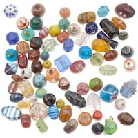 1/2 Pound Lampwork Glass Beads Mix Assorted Styles & Sizes (8 oz)