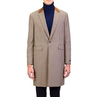 Prada Men's Notched Lapel Trench Coat Jacket Houndstooth Camel Tobacco