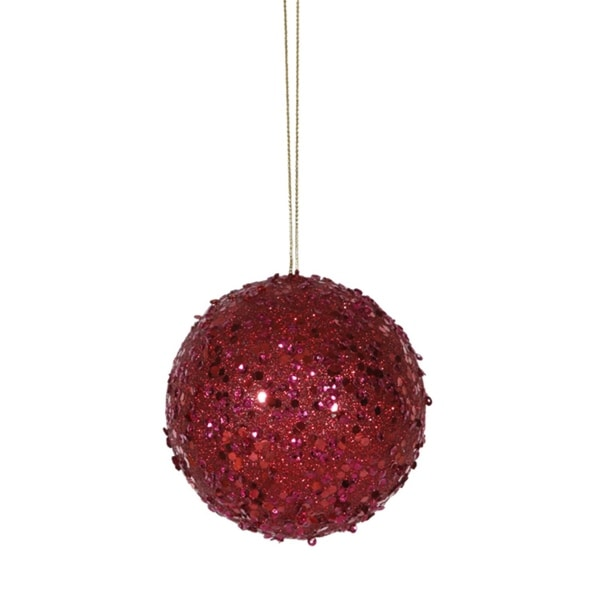 "Fancy Deep Red Holographic Glitter Drenched Christmas Ball Ornament 4"" (100mm)"