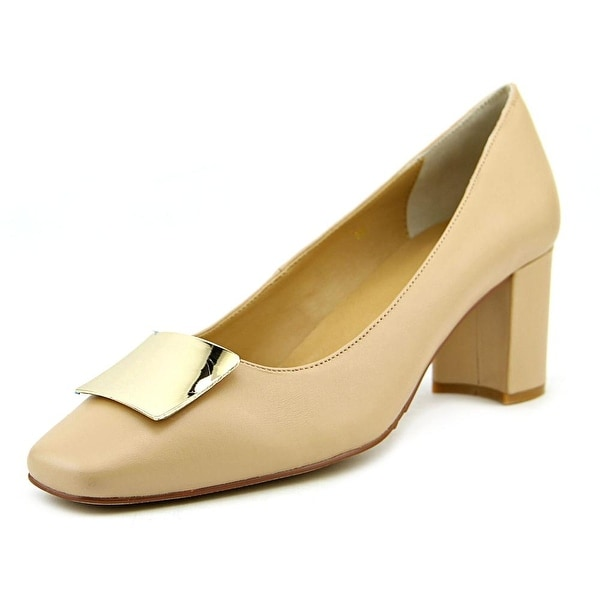 Vaneli Eara Women Square Toe Leather Nude Heels