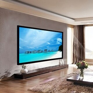 Costway 100'' Aluminum Fixed Frame 16:9 Projector Screen Velvet Matte White Home Theater