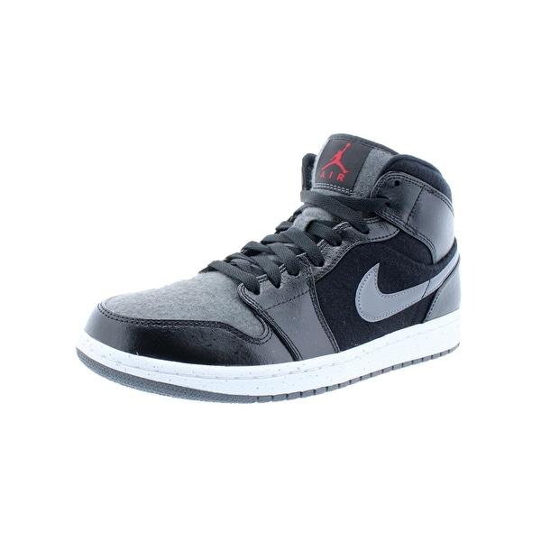 Jordan Mens Air Jordan 1 Mid PREM Basketball Shoes Faux Leather Mid Top