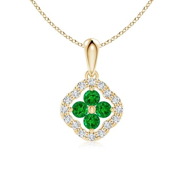 Angara Diamond Framed Emerald Clover Pendant Necklace - White