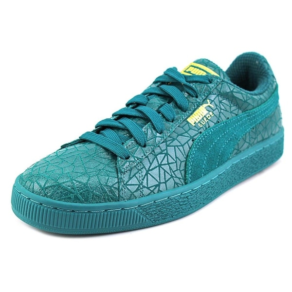 Puma Suede Crackle Men Round Toe Synthetic Green Sneakers