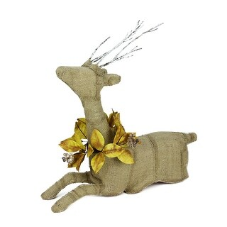 "20"" Rustic Burlap Reindeer Wearing Amber Leaves and Berries Decorative Sitting Christmas Figure"